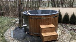 Horký koupací sud Wellness, integrovaný kotel,dřevo ThermoWood, jacuzzi, whirpool,